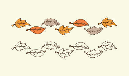 Vector hand drawn Autumn leaf borders. Leaves pattern