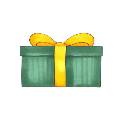 Hand drawn green gift box with yellow bow isolated on white background Фото со стока