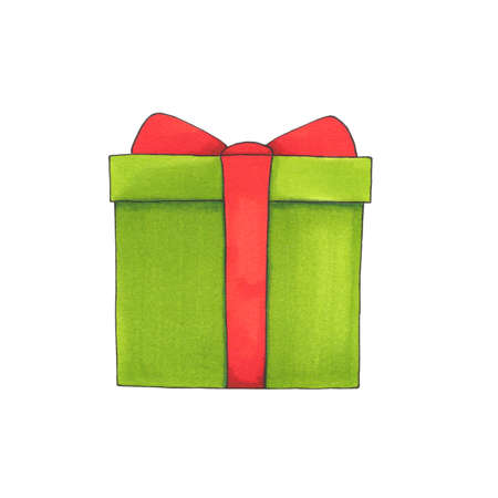 Hand drawn green gift box with red bow isolated on white background