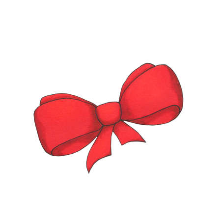 Hand drawn pink bow isolated on white background