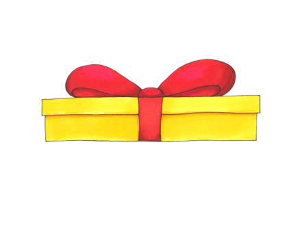 Hand drawn yellow gift box with red bow isolated on white background