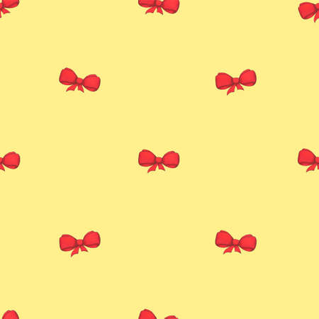 Seamless pattern with pink bows. Festive yellow background