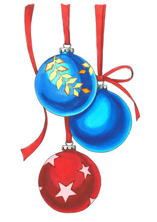 Blue and red balls with red ribbons. Drawn Christmas toys