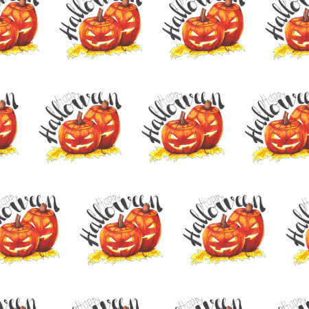 Happy Halloween. Seamless pattern with scary pumpkins