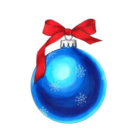 Blue ball with a bow. Hand drawn christmas toy Фото со стока