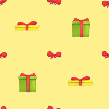 Seamless pattern with gift boxes. Festive background