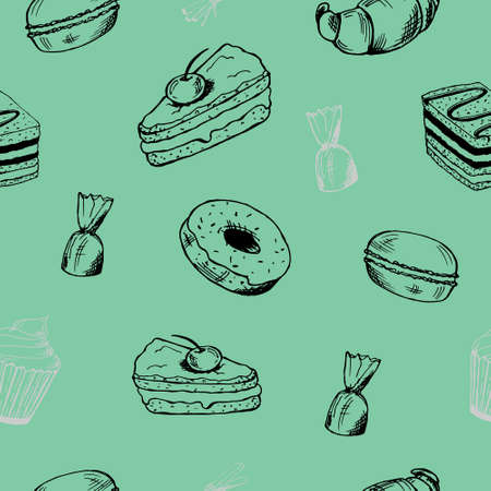 seamless pattern of sweets and desserts. a piece of cake, candy, cake,pancake, doughnuts, croissants and macaroons