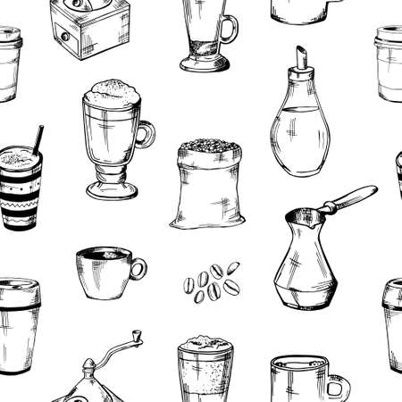 seamless coffee pattern.glass cups, mug, coffee grinder, coffee maker, coffee beans, milk jug vector illustration Vetores