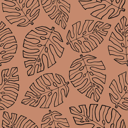 seamless pattern with monstera leaves.minimalistic tropical pattern ,hand-drawn vector illustration  イラスト・ベクター素材