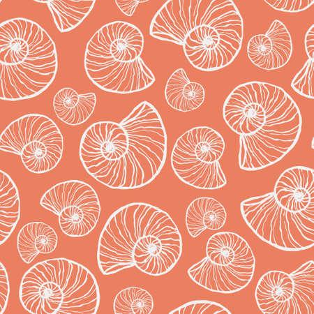 marine seamless pattern with seashell. summer time, sea, underwater hand-drawn sea shells