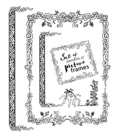 moresque: Set of yand drawn rustical frames elements. Stock Photo