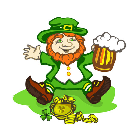 cartoon leprechaun: Leprechaun sitting on the lawn with a pot of gold Illustration