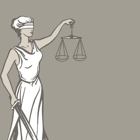 dama de la justicia: Themis (Femida) - diosa de justice.Vector ilustración.