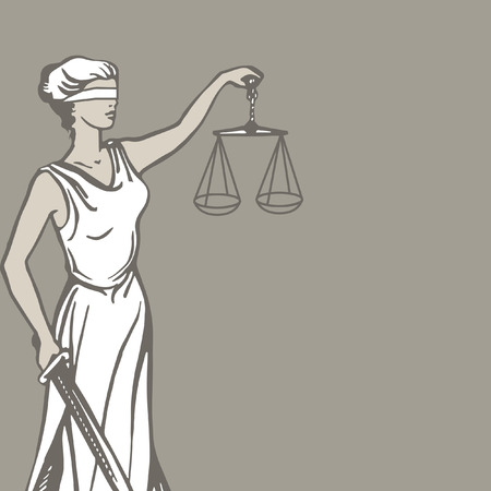 justice scales: Themis (Femida) - goddess of justice.Vector illustration.