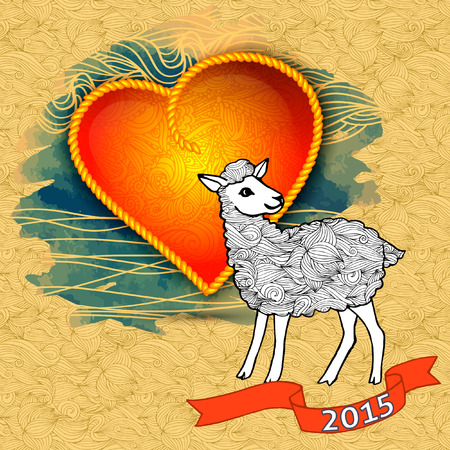 hristmas: ?hristmas greeting card with sheep and heart, 2015 Stock Photo