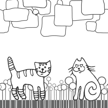 Hand drawn abstract line background with funny cats in love. Vector