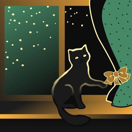 ton: Siyah yavru bir pencere üzerinde oturan ve perdeleri Vector illustration bir ton yay çalış