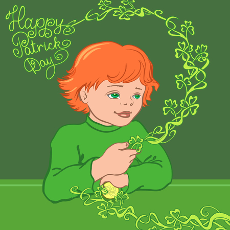 leprechauns: Red-haired boy in a green shirt with shamrock. Eps-8