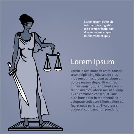 female judge: vector illustration Femida - goddess of justice.