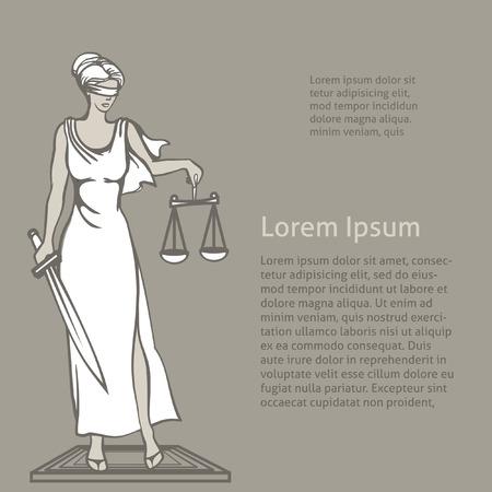 female judge: Themis-Femida - goddess of justice.Vector illustration.