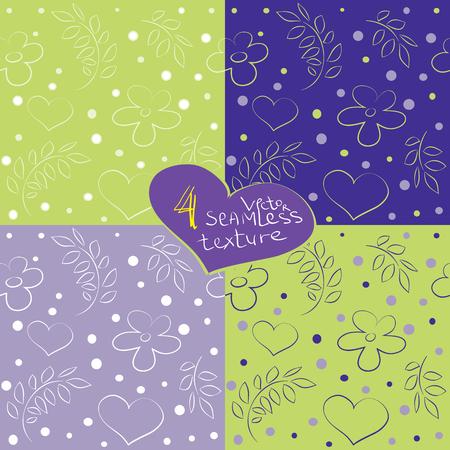 s curve: Set of 4 hearts and flowers seamless patterns. Eps-8