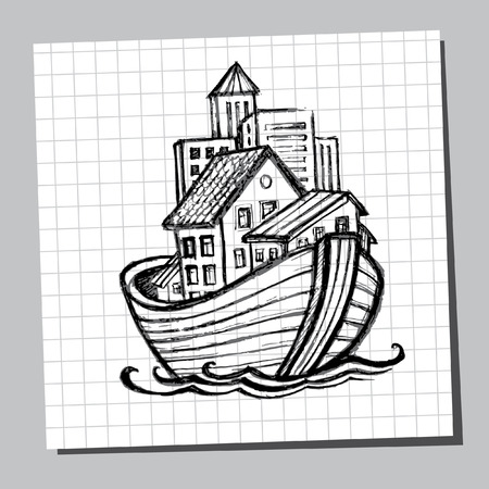 Noahs Ark Line Drawing. Picture for tourism, cruises, real estate sales, moving to another city