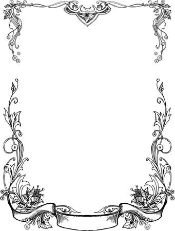 Black And White floral Frames. Illustration