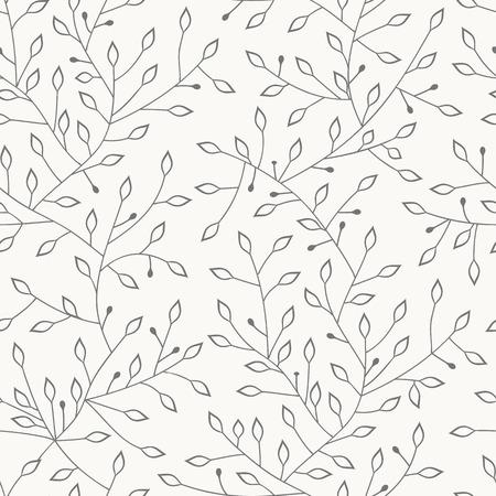Vector seamless pattern. Hand drawn floral texture. Иллюстрация