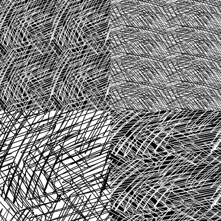 skewed: 4 seamless ink hand drawn scribble texture, abstract graphic design.