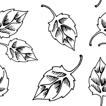 black fabric: Black and white leaves seamless pattern, floral seamless pattern for fabric, wallpaper, pattern fills, web page background, surface textures. hand-drawn. Vector