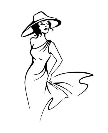 アウトライン スタイル ベクトルで帽子で美しい女性のシルエット  イラスト・ベクター素材