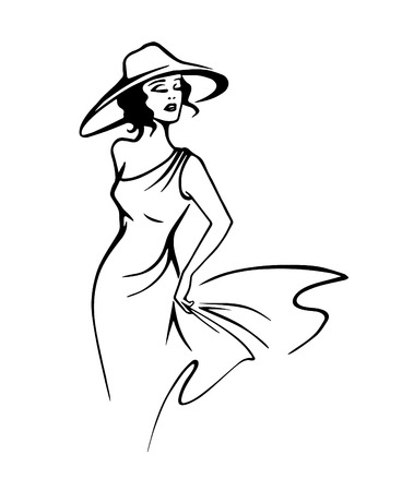 Silhouette of beautiful woman in hat in outline style vector Çizim