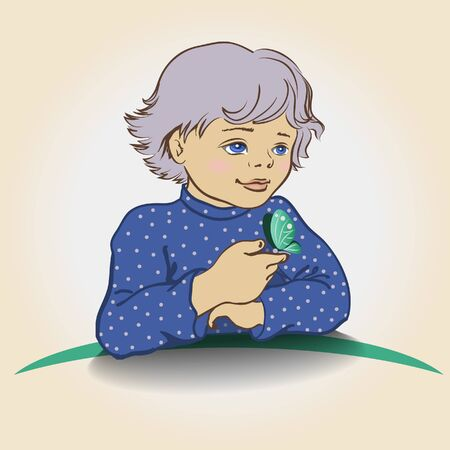blue shirt: A boy in a blue shirt with a butterfly on her hand. Eps-8. Illustration