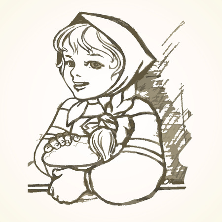 sundress: Hand drawn Russian girl in a sundress and a scarf on her head with a basket. Eps-8. Illustration