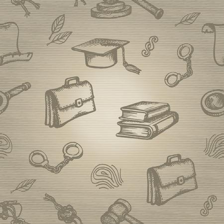 female prisoner: Set of justice or law symbols on brown background. Sketch.  Illustration