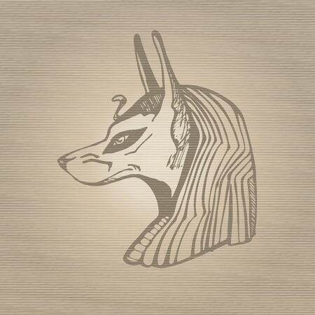 egyptian culture: Egyptian god Anubis, hand drawn vector illustration.