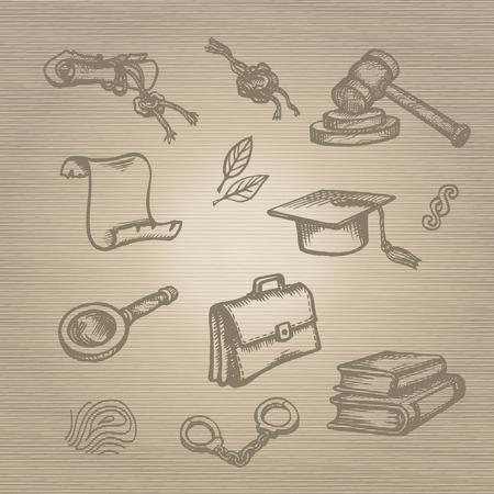 female prisoner: Set of justice or law symbols on brown background. Sketch.