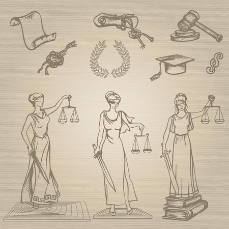 femida: Set of justice or law symbols on brown background. Sketch.