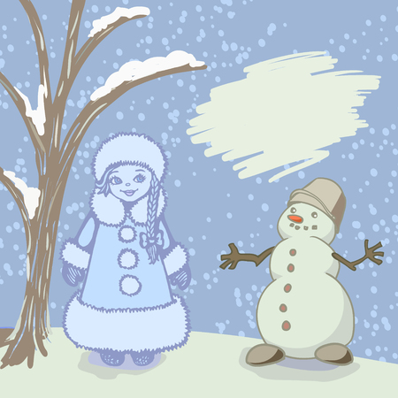 moroz: greeting card with a Snegurochka and snowman and frame for text. Vector illustration, eps-8. Illustration