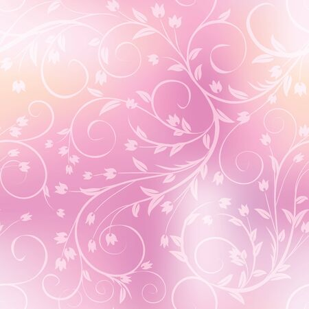 Seamless floral pattern on blurred background.