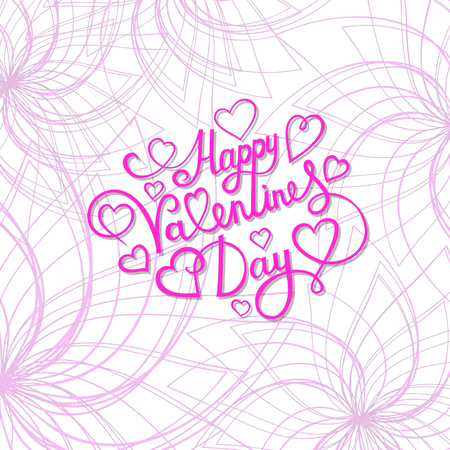 valentine s day: Valentine s day template greeting card with lettering. Happy valentines day.
