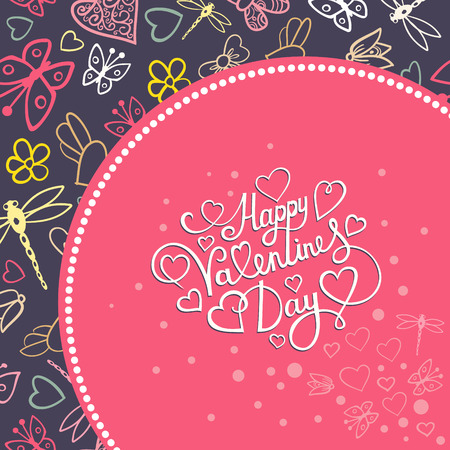 valentine s: Valentine s day template greeting card. Valentines day card with butterflies, hearts and flowers, vector