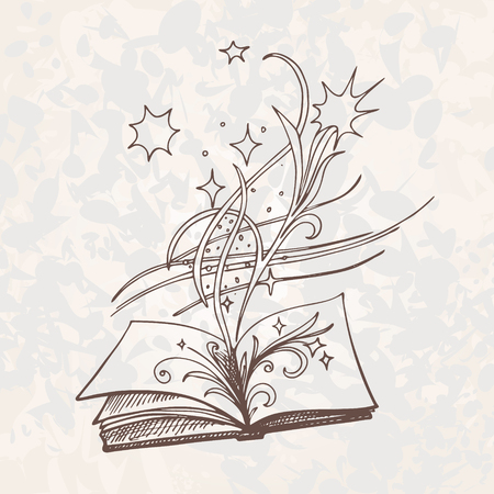 poems: The book is fantasy.  Sketch style vector illustration. Old hand drawn engraving imitation. Eps-8.