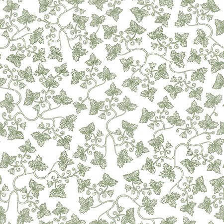 grape leaves: Vector seamless vintage floral pattern. Stylized silhouettes of grape leaves on a white background. Eps-8. Illustration