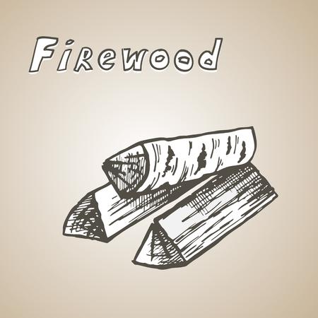 stack van drie houten logs, cartoon vector en illustratie, met de hand getekende stijl.