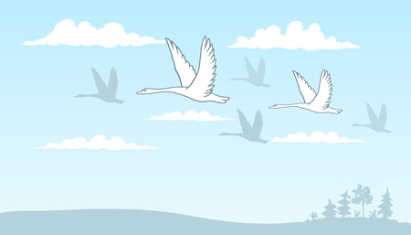sky line: drawing of a group of swans flying over the field among the clouds against the blue sky.