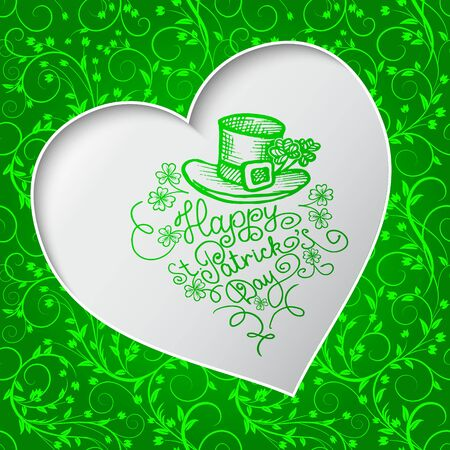 Saint Patricks Day card with an inscription in a frame in the shape of heart. artistic design with leprechauns hat and clover shamrock.