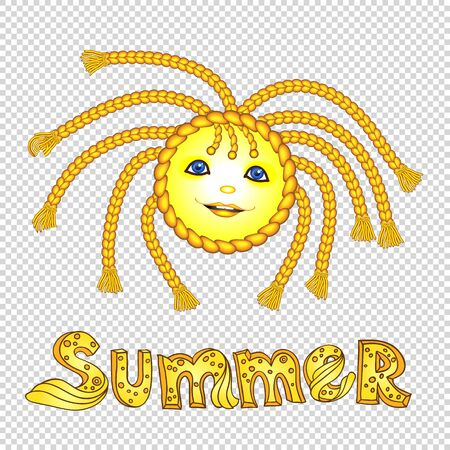 pigtail: Funny cartoon sun with pigtail
