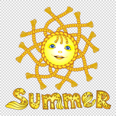pigtail: Funny cartoon sun with pigtail. Illustration
