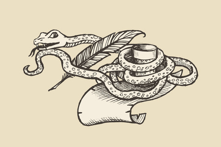 poetry: Figure serpent wound around the parchment, pen and cup. The symbol of poetry and alcoholism.